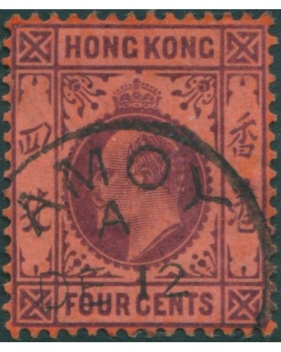 Hong Kong 1904 SG78a 4c purple on red KEVII FU