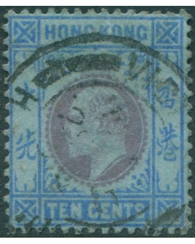 Hong Kong 1904 SG81 10c purple and blue/blue KEVII FU