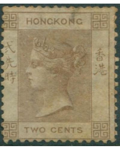 Hong Kong 1862 SG8a 2c brown QV MNH