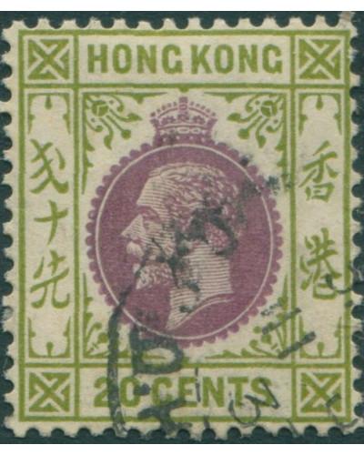 Hong Kong 1921 SG125 20c purple and sage-green KGV 1 FU