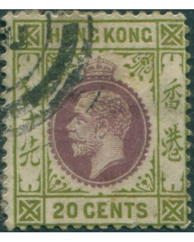 Hong Kong 1921 SG125 20c purple and sage-green KGV 2 FU