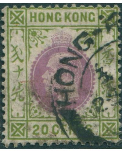Hong Kong 1921 SG125 20c purple and sage-green KGV 3 FU