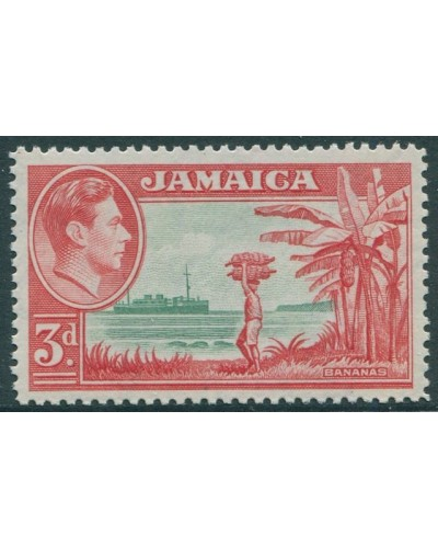 Jamaica 1938 SG126c 3d green and red Bananas KGVI MNH