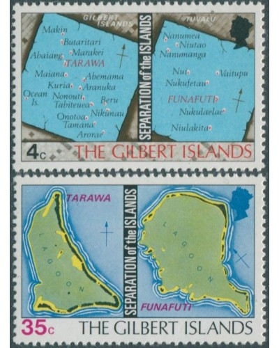 Gilbert Islands 1976 SG1-2 Separation of the Islands Maps set MNH