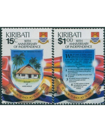 Kiribati 1989 SG303-304 Independence set MNH