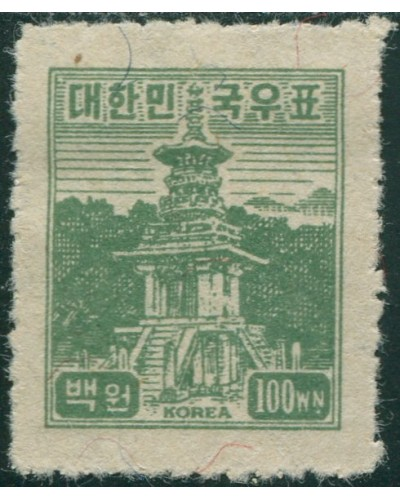 Korea South 1949 SG122 100w olive-green Tabo Pagoda MLH