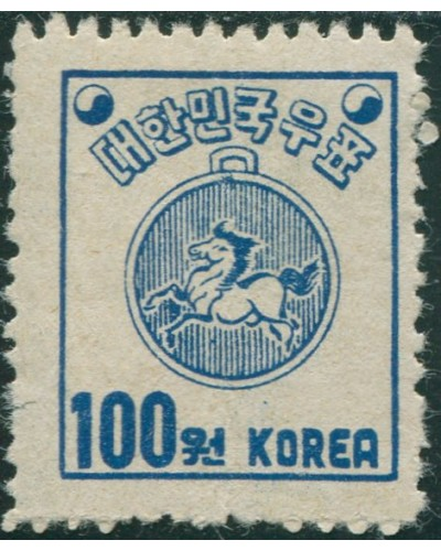 Korea South 1951 SG143 100w blue Post-horse Warrant MLH