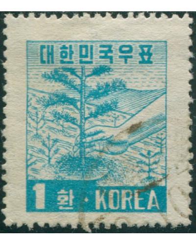 Korea South 1953 SG199 1h turquoise-blue Tree-planting FU