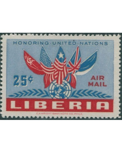 Liberia 1952 SG727 25c Flags and UN emblem MNH