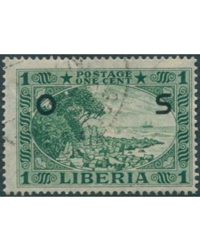 Liberia 1921 SGO428 1c green Cape Mesurado FU