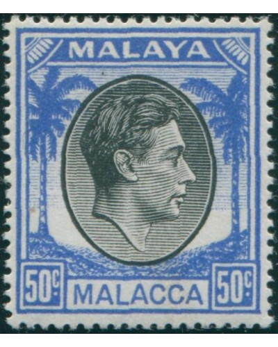 Malaysia Malacca 1949 SG14 50c black and blue Palm Trees KGVI MLH