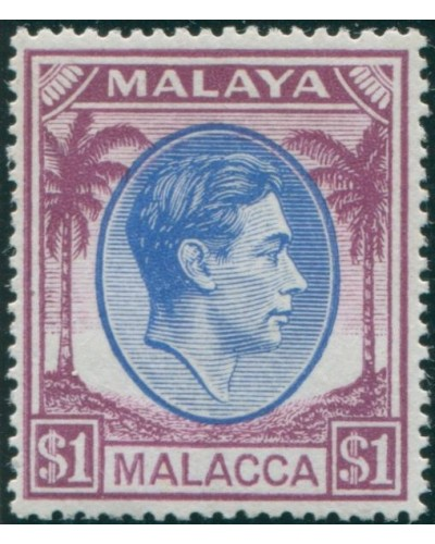 Malaysia Malacca 1949 SG15 $1 blue and purple Palm Trees KGVI MLH