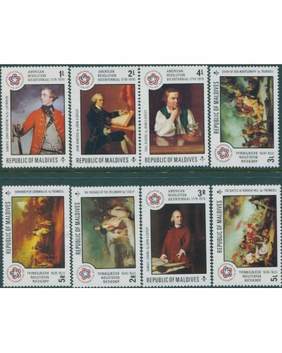 Maldive Islands 1976 SG633-640 American Revolution set MNH