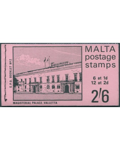 Malta 1965 SG331 and SG333 2/6 Magisterial Palace booklet no.2 MNH