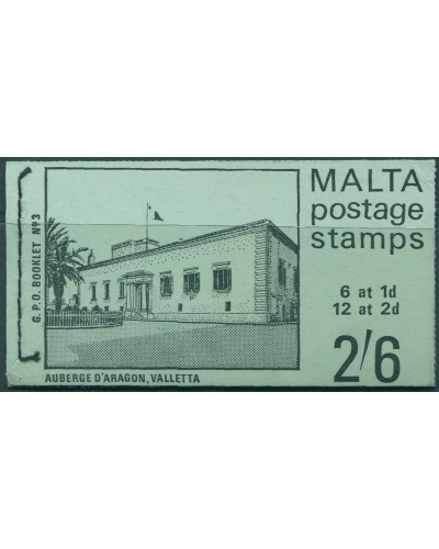 Malta 1965 SG331 and SG333 2/6 Auberge D'Aragon booklet no.3 MNH