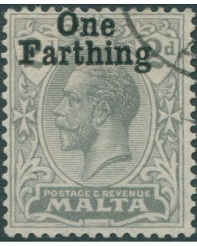 Malta 1922 SG122 One Farthing on 2d grey KGV FU