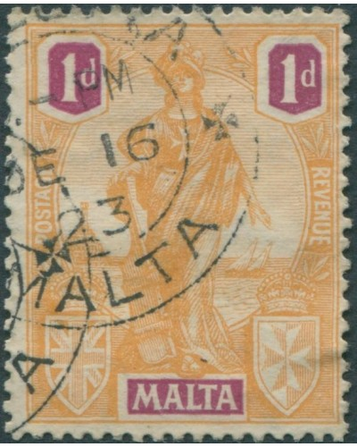 Malta 1922 SG125 1d orange and purple emblamatic figure FU