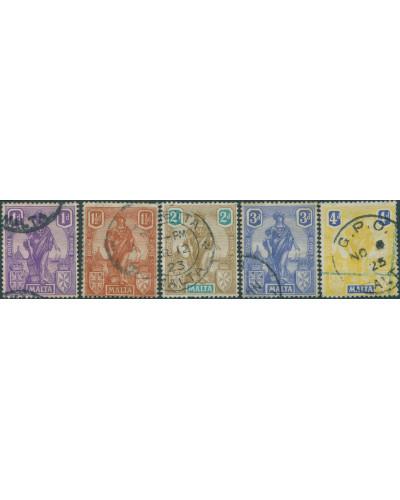 Malta 1922 SG126-132 emblamatic figure FU