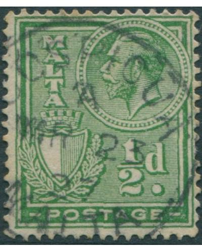 Malta 1926 SG158 ½d green Arms KGV FU