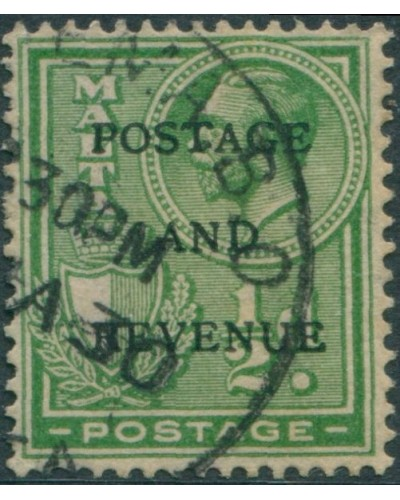 Malta 1928 SG175 ½d green Arms KGV POSTAGE AND REVENUE ovpt FU