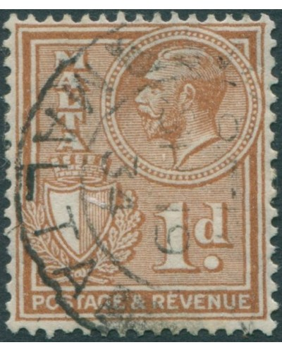 Malta 1928 SG195 1d brown Arms KGV FU