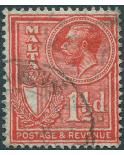 Malta 1928 SG196 1½d red Arms KGV FU