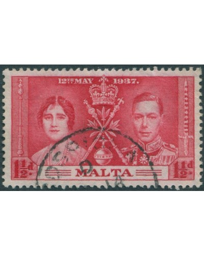 Malta 1937 SG215 1½d red Coronation KGVI FU