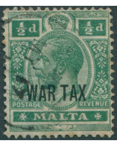 Malta 1918 SG92 ½d green KGV WAR TAX ovpt FU