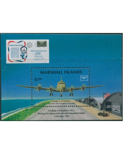 Marshall Islands 1986 SG79 Ameripex Stamp Exhibition Air Transport MS MNH