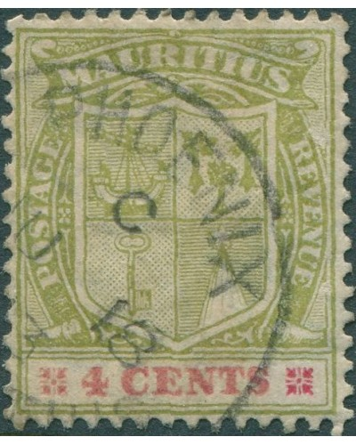 Mauritius 1910 SG209 4c green and red Arms FU