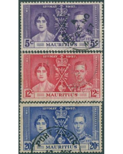 Mauritius 1937 SG249-251 Coronation set FU