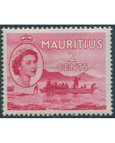 Mauritius 1953 SG293 2d red Grand Port QEII MLH