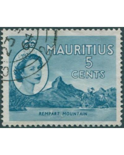 Mauritius 1953 SG296 5c blue QEII Rempart Mountain FU