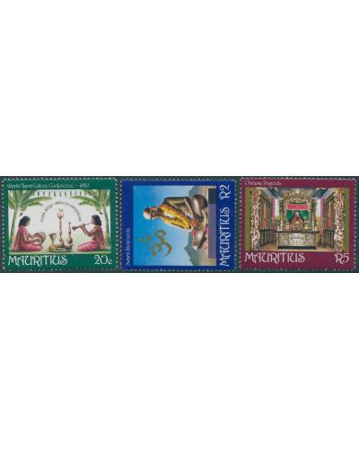 Mauritius 1981 SG625-627 Religion and Culture set MNH
