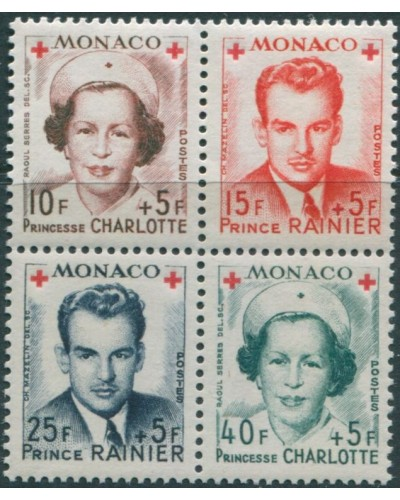 Monaco 1949 SG408 Red Cross Fund block from MS MNH