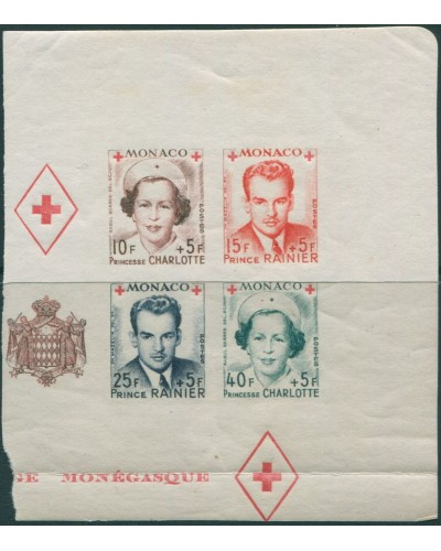 Monaco 1949 SG409 Red Cross Fund MS imperf block MNH