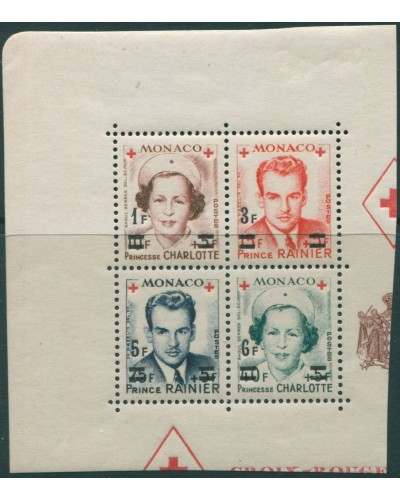 Monaco 1951 SG458 Red Cross ovpts block MS MNH