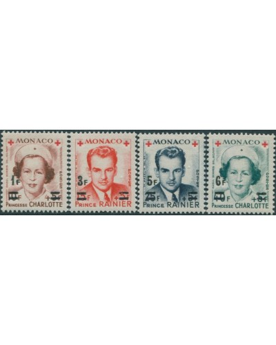 Monaco 1951 SG458 Red Cross ovpts singles MLH
