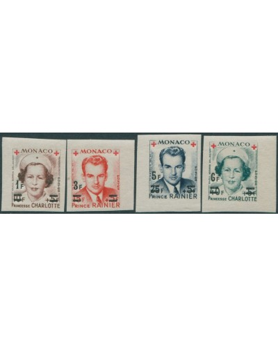 Monaco 1951 SG459 Red Cross ovpts singles imperf MLH