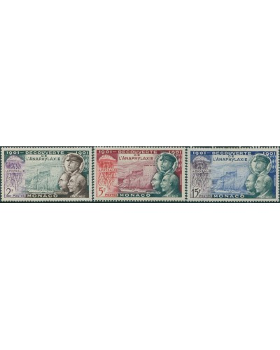 Monaco 1953 SG475-477 Discovery of Anaphylaxis set MLH