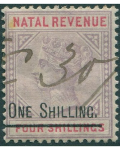Natal fiscal 1869 1/- on mauve and red QV FU