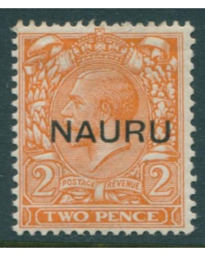 Nauru 1916 SG16 2d orange KGV die II ovpt centre MH