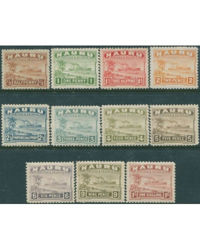 Nauru 1924 SG26B-36B Freighter shiny white paper set to 1/- MLH