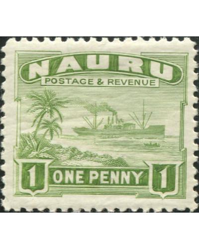 Nauru 1937 SG27B 1d green Freighter shiny MLH