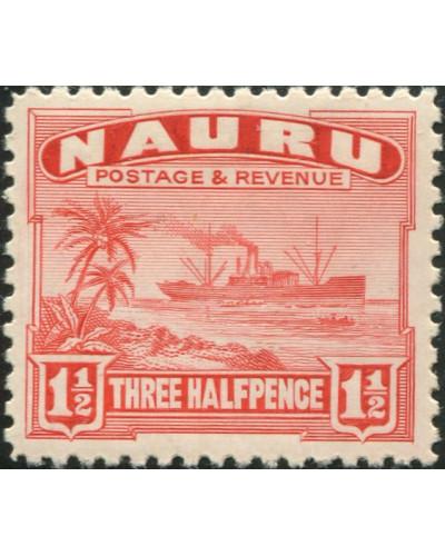 Nauru 1937 SG28B 1½d scarlet Freighter shiny MLH