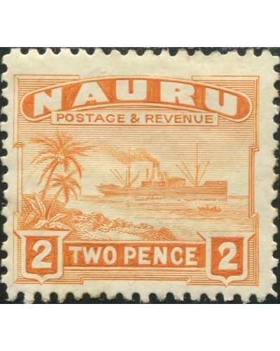 Nauru 1937 SG29B 2d orange Freighter shiny MLH