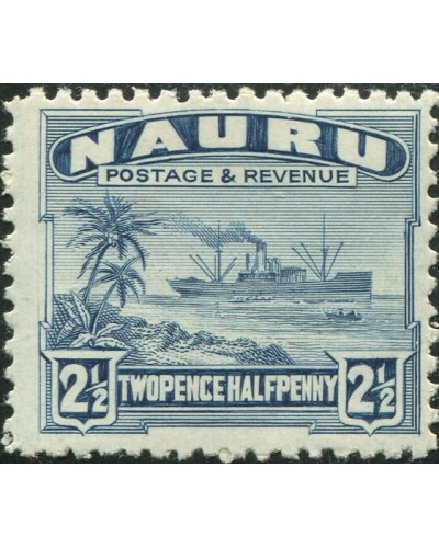 Nauru 1937 SG30B 2½d slate-blue Freighter shiny MLH