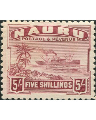 Nauru 1937 SG38B 5/- claret Freighter shiny with lightly even toned back MLH