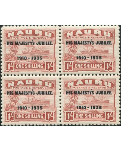 Nauru 1935 SG43 1/- brown-lake Freighter ovpt block MNH