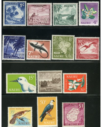Nauru 1966 SG66-79 Birds Flowers Scene Lizard Industry set MLH